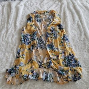 Yellow Floral Ruffled Sleeveless Tank Vest SzM